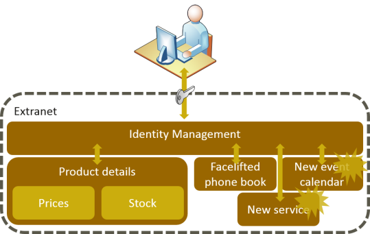 Extranet with identity and access management solution